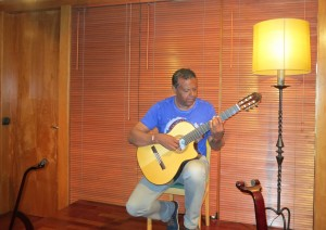 Marcus test driving his new guitar in Barcelona